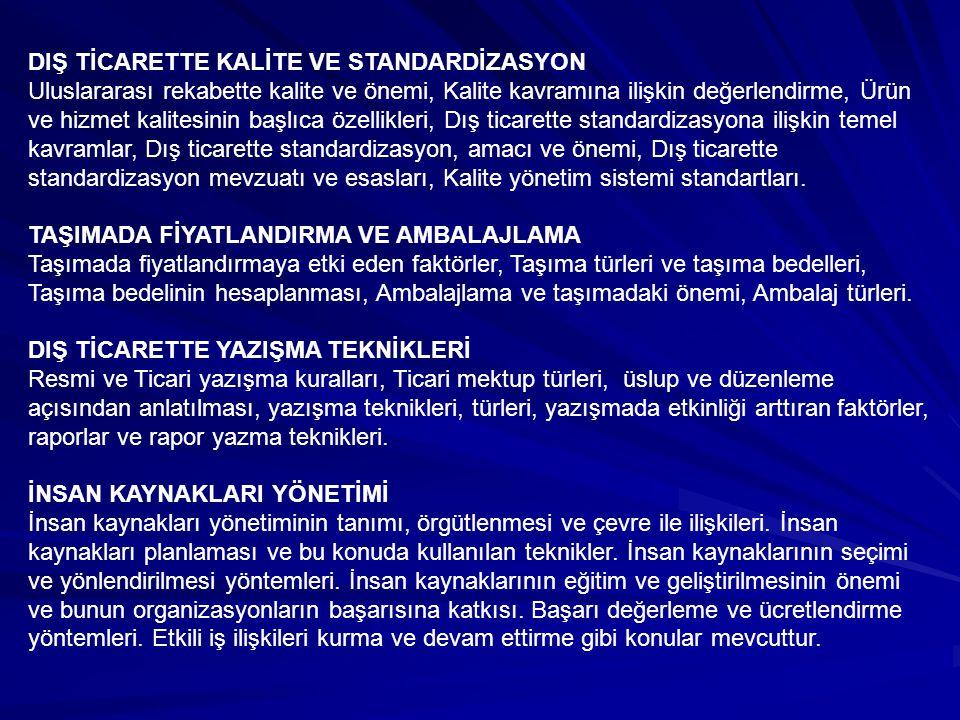 DIŞ TİCARETTE KALİTE VE STANDARDİZASYON