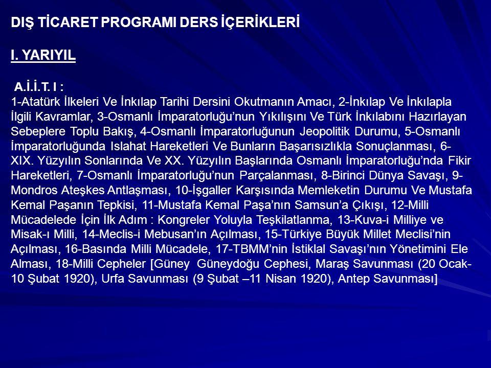 DIŞ TİCARET PROGRAMI DERS İÇERİKLERİ I. YARIYIL
