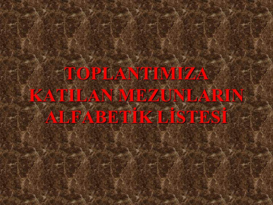 TOPLANTIMIZA KATILAN MEZUNLARIN ALFABETİK LİSTESİ