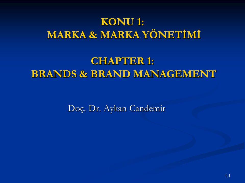 KONU 1: MARKA & MARKA YÖNETİMİ CHAPTER 1: BRANDS & BRAND MANAGEMENT