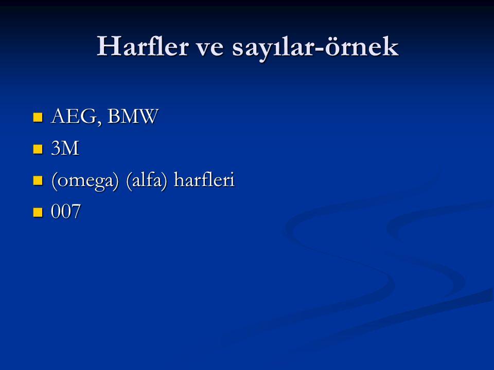 Harfler ve sayılar-örnek