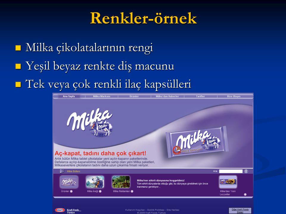 Renkler-örnek Milka çikolatalarının rengi