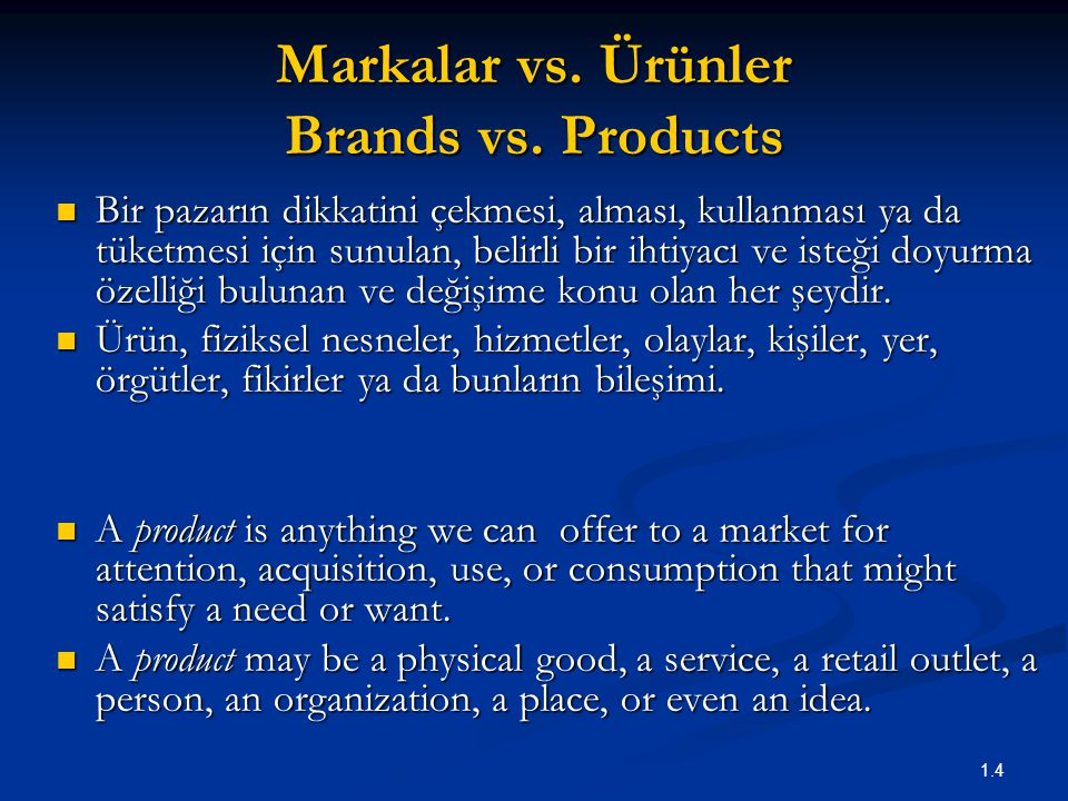 Markalar vs. Ürünler Brands vs. Products