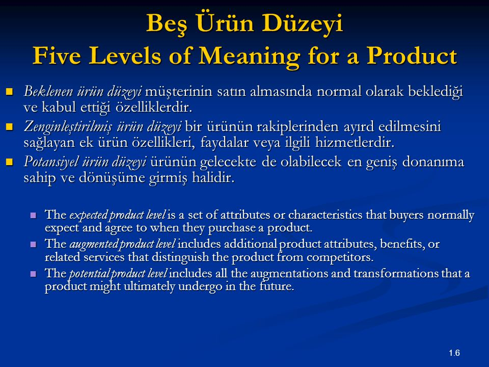 Beş Ürün Düzeyi Five Levels of Meaning for a Product