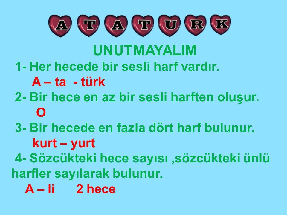 UNUTMAYALIM 1- Her hecede bir sesli harf vardır. A – ta - türk