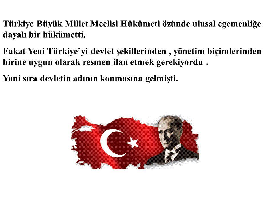 Türkiye Büyük Millet Meclisi Hükümeti özünde ulusal egemenliğe dayalı bir hükümetti.