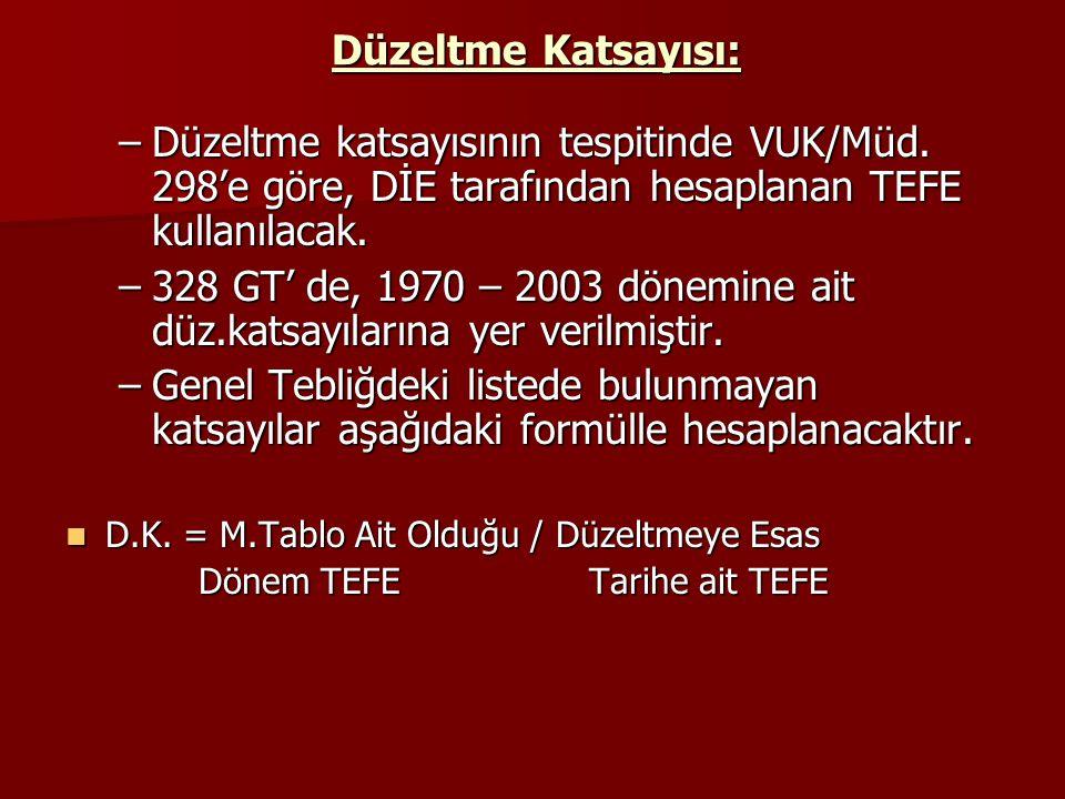 Düzeltme Katsayısı: Düzeltme katsayısının tespitinde VUK/Müd. 298'e göre, DİE tarafından hesaplanan TEFE kullanılacak.