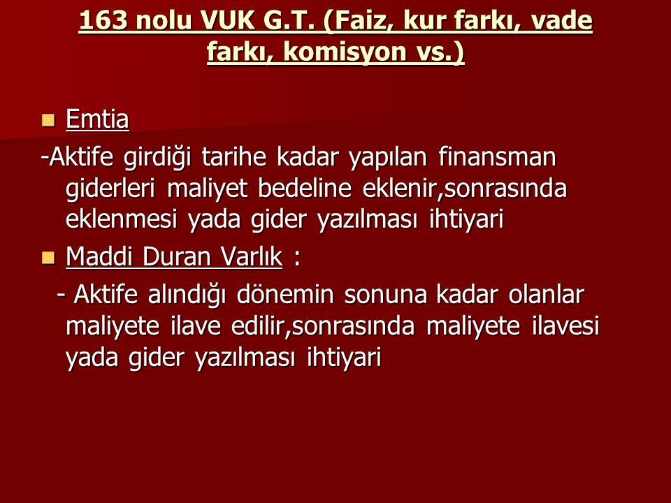 163 nolu VUK G.T. (Faiz, kur farkı, vade farkı, komisyon vs.)