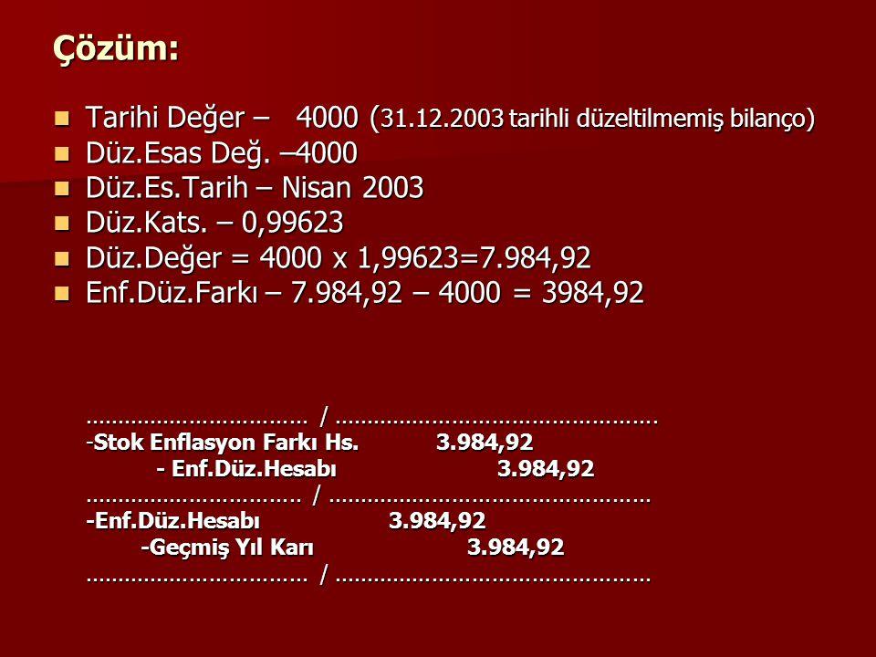 Çözüm: Tarihi Değer – 4000 (31.12.2003 tarihli düzeltilmemiş bilanço)