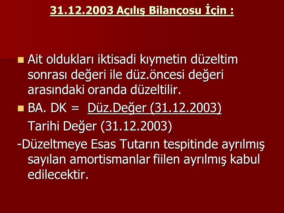 31.12.2003 Açılış Bilançosu İçin :