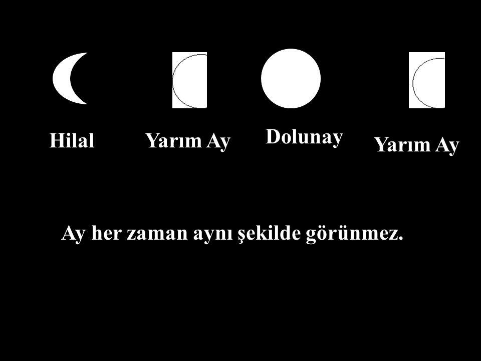 Dolunay Hilal Yarım Ay Yarım Ay Ay her zaman aynı şekilde görünmez.