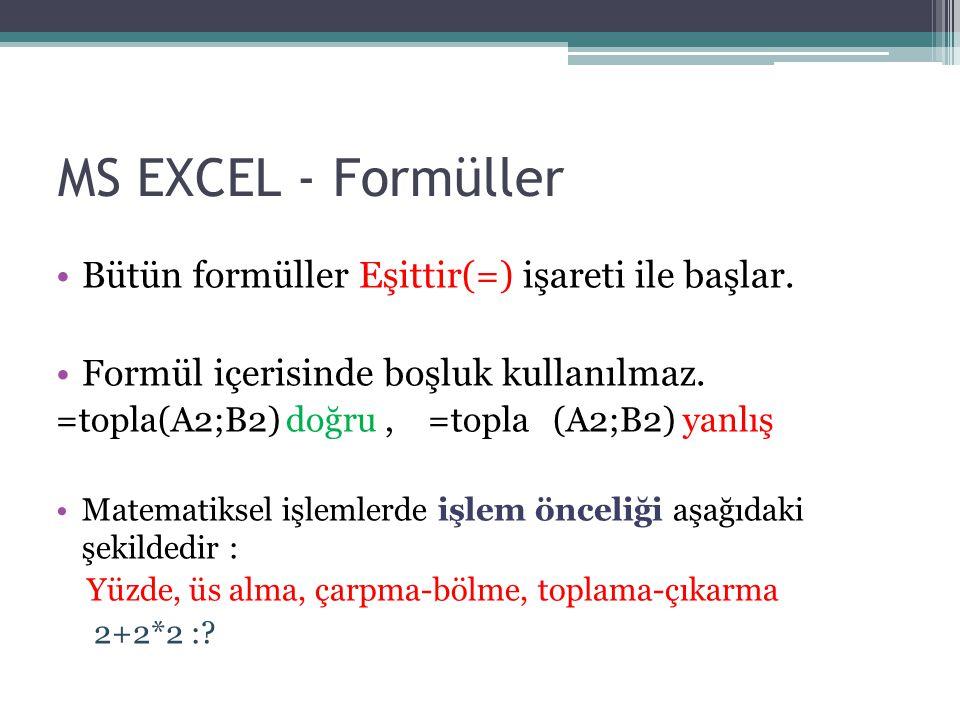 MS EXCEL - Formüller Bütün formüller Eşittir(=) işareti ile başlar.