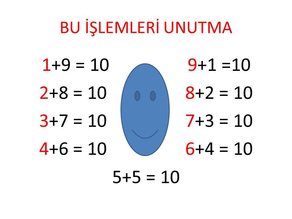 BU İŞLEMLERİ UNUTMA 1+9 = 10 9+1 =10. 2+8 = 10 8+2 = 10. 3+7 = 10 7+3 = 10. 4+6 = 10 6+4 = 10.