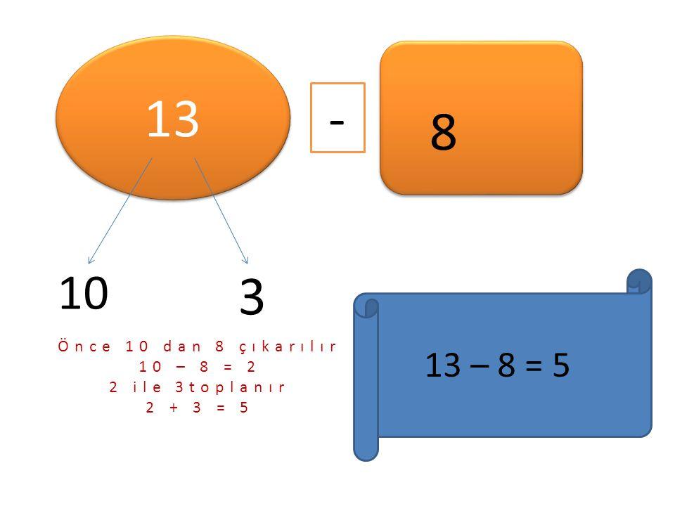 13 - 8 3 10 13 – 8 = 5 Önce 10 dan 8 çıkarılır 10 – 8 = 2