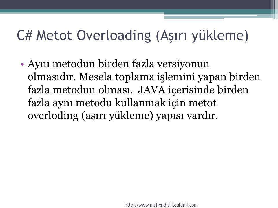 C# Metot Overloading (Aşırı yükleme)