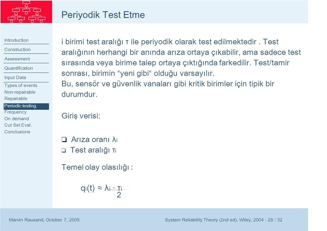 Periyodik Test Etme qi(t) ≈ λi · τi 2