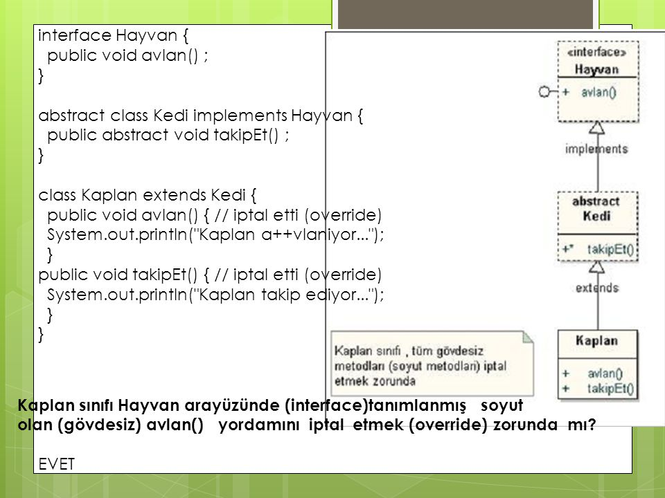 interface Hayvan { public void avlan() ; } abstract class Kedi implements Hayvan { public abstract void takipEt() ;