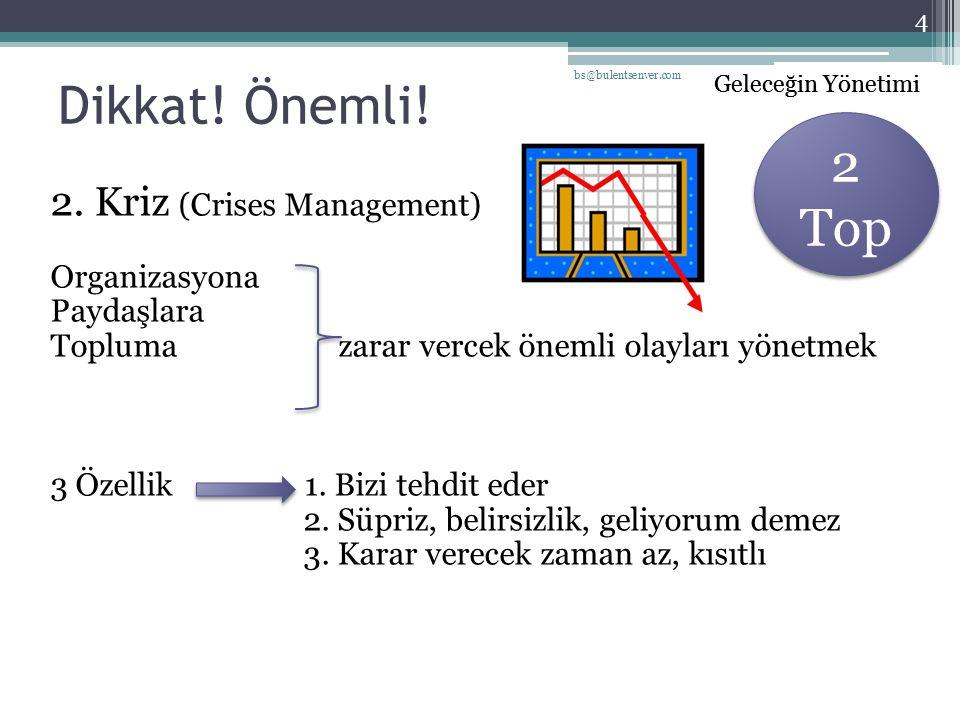 Dikkat! Önemli! 2 Top 2. Kriz (Crises Management) Organizasyona
