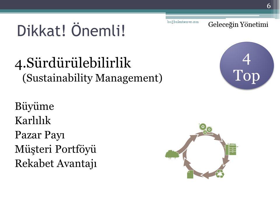 Dikkat! Önemli! 4 Top 4.Sürdürülebilirlik (Sustainability Management)
