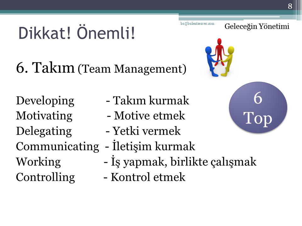 Dikkat! Önemli! 6 Top 6. Takım (Team Management)