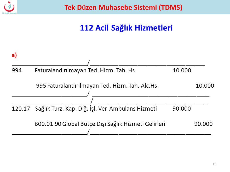 Tek Düzen Muhasebe Sistemi (TDMS) 112 Acil Sağlık Hizmetleri