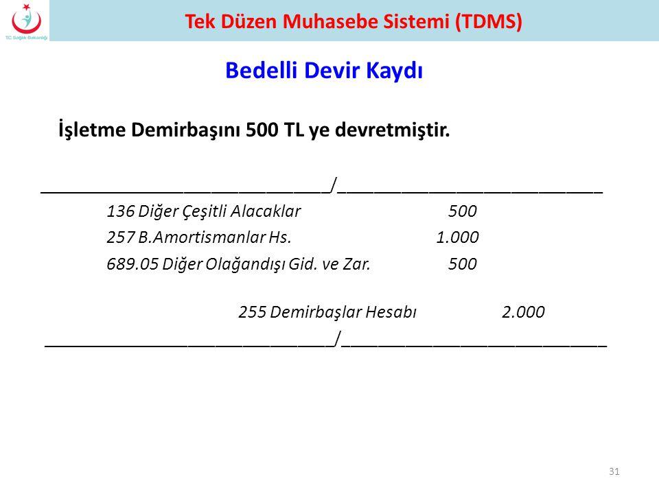 Bedelli Devir Kaydı İşletme Demirbaşını 500 TL ye devretmiştir.