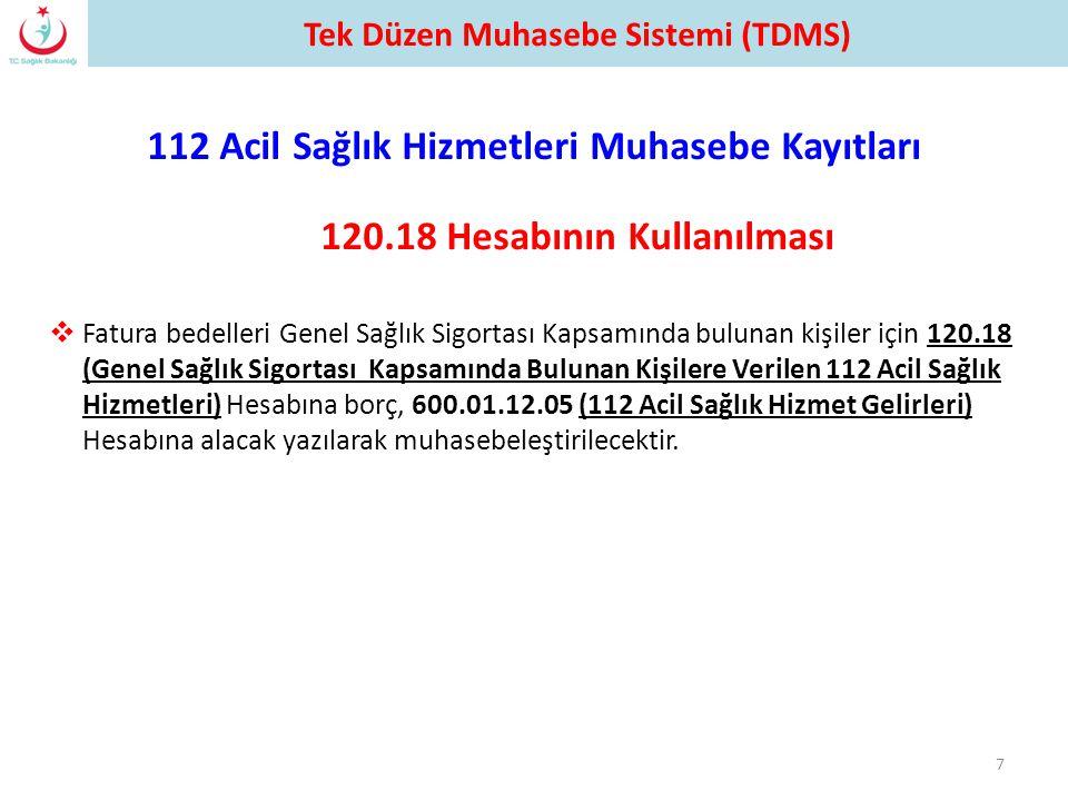 112 Acil Sağlık Hizmetleri Muhasebe Kayıtları