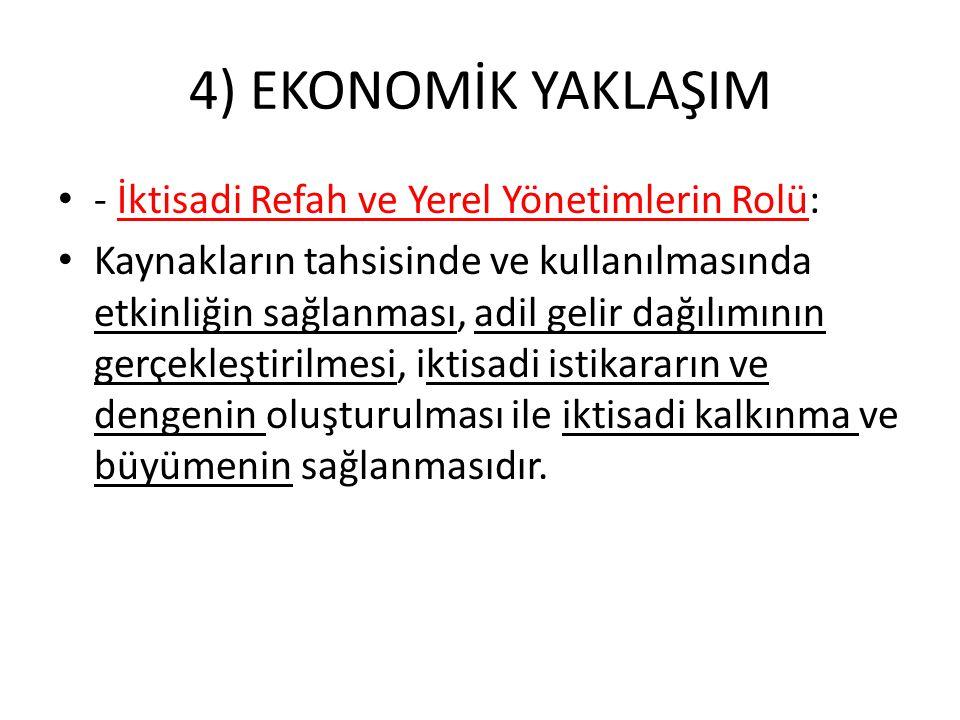 4) EKONOMİK YAKLAŞIM - İktisadi Refah ve Yerel Yönetimlerin Rolü: