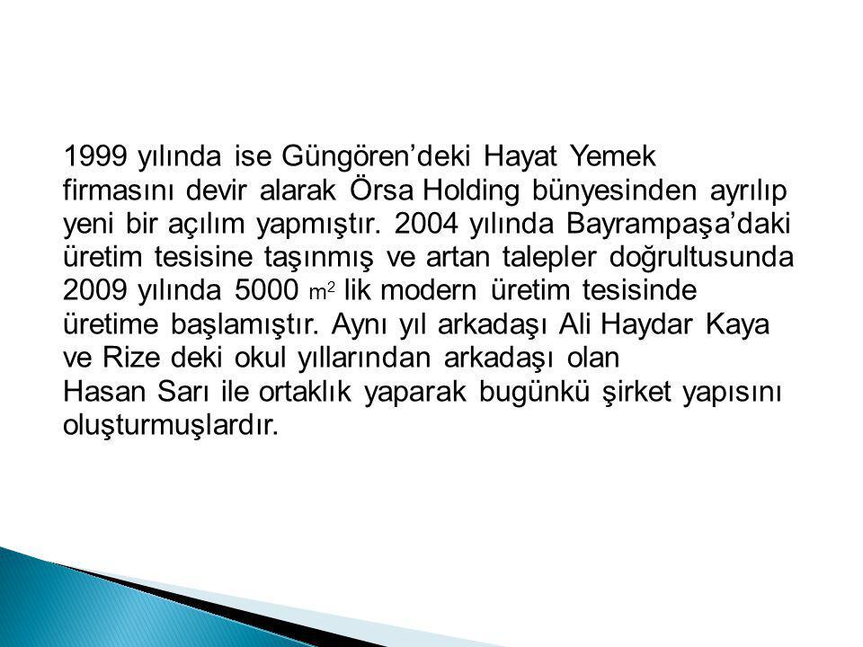1999 yılında ise Güngören'deki Hayat Yemek firmasını devir alarak Örsa Holding bünyesinden ayrılıp yeni bir açılım yapmıştır.