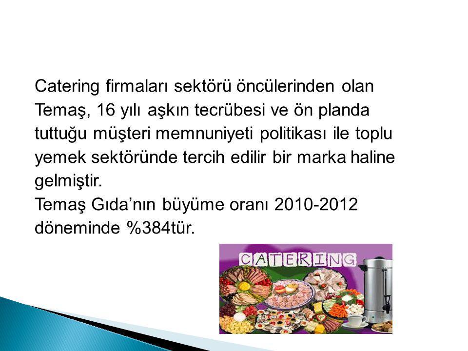 Catering firmaları sektörü öncülerinden olan Temaş, 16 yılı aşkın tecrübesi ve ön planda tuttuğu müşteri memnuniyeti politikası ile toplu yemek sektöründe tercih edilir bir marka haline gelmiştir.