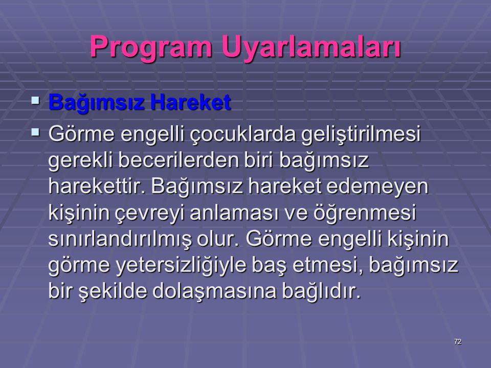 Program Uyarlamaları Bağımsız Hareket
