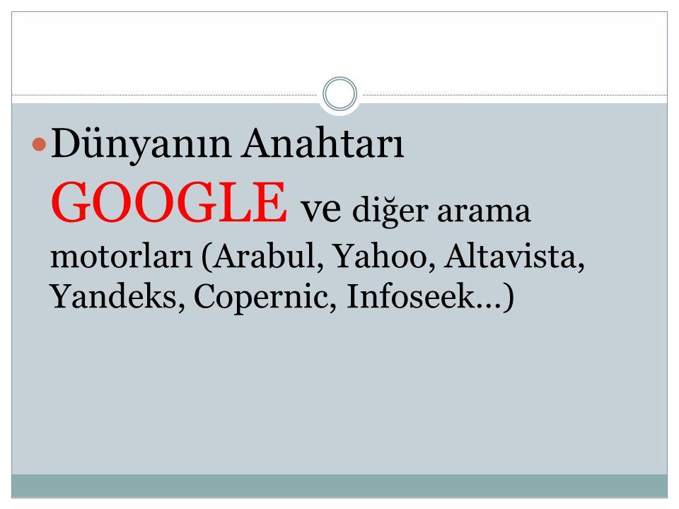 Dünyanın Anahtarı GOOGLE ve diğer arama motorları (Arabul, Yahoo, Altavista, Yandeks, Copernic, Infoseek…)