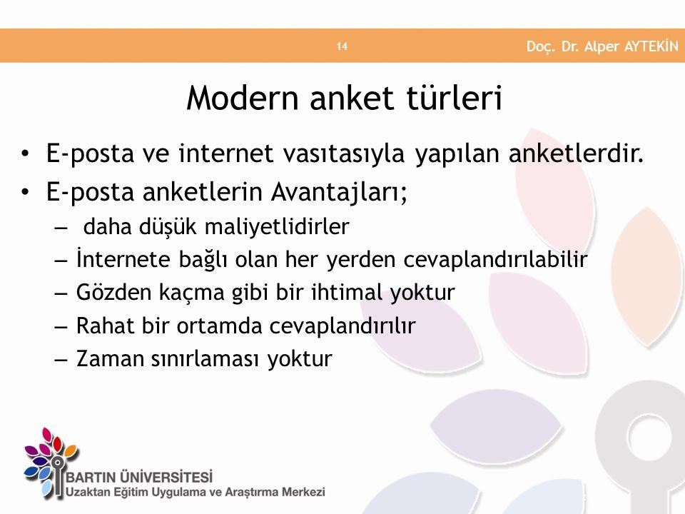 Doç. Dr. Alper AYTEKİN Modern anket türleri. E-posta ve internet vasıtasıyla yapılan anketlerdir. E-posta anketlerin Avantajları;