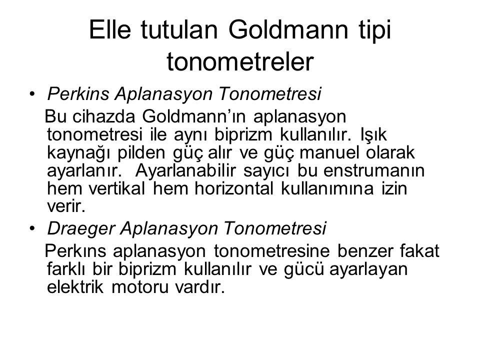 Elle tutulan Goldmann tipi tonometreler