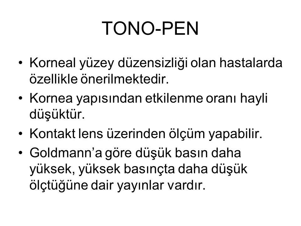 TONO-PEN Korneal yüzey düzensizliği olan hastalarda özellikle önerilmektedir. Kornea yapısından etkilenme oranı hayli düşüktür.