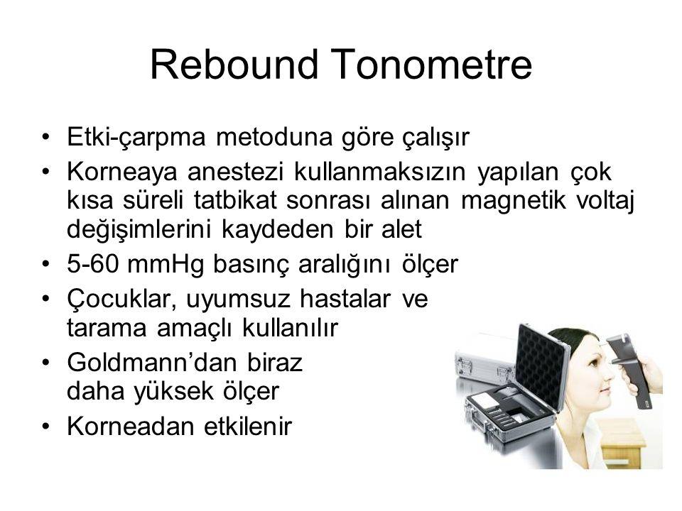 Rebound Tonometre Etki-çarpma metoduna göre çalışır