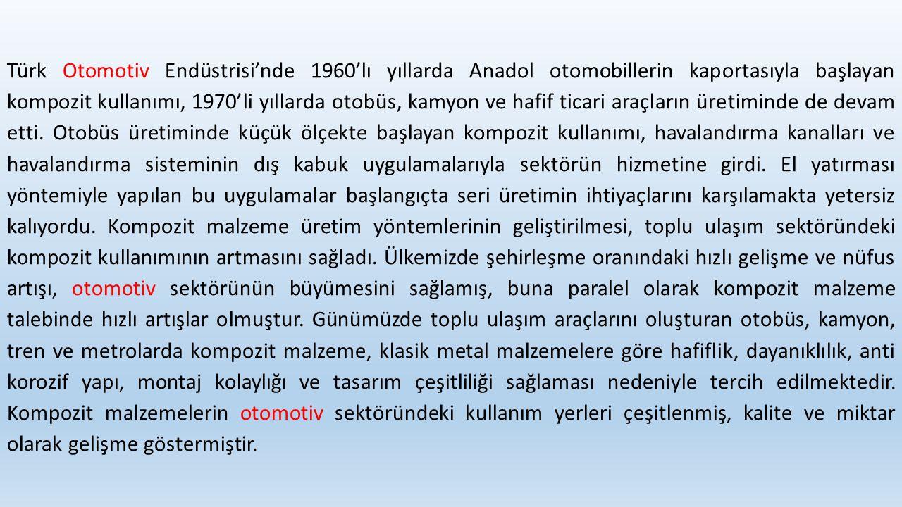 Türk Otomotiv Endüstrisi'nde 1960'lı yıllarda Anadol otomobillerin kaportasıyla başlayan kompozit kullanımı, 1970'li yıllarda otobüs, kamyon ve hafif ticari araçların üretiminde de devam etti.