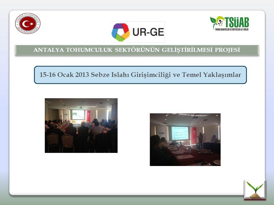 15-16 Ocak 2013 Sebze Islahı Girişimciliği ve Temel Yaklaşımlar