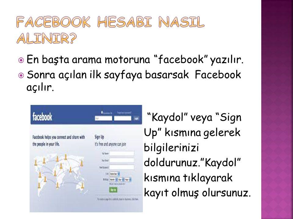 FACEBOOK HESABI NASIL ALINIR