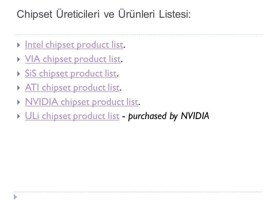 Chipset Üreticileri ve Ürünleri Listesi: