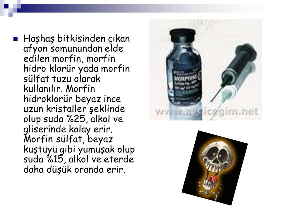 Haşhaş bitkisinden çıkan afyon somunundan elde edilen morfin, morfin hidro klorür yada morfin sülfat tuzu olarak kullanılır.