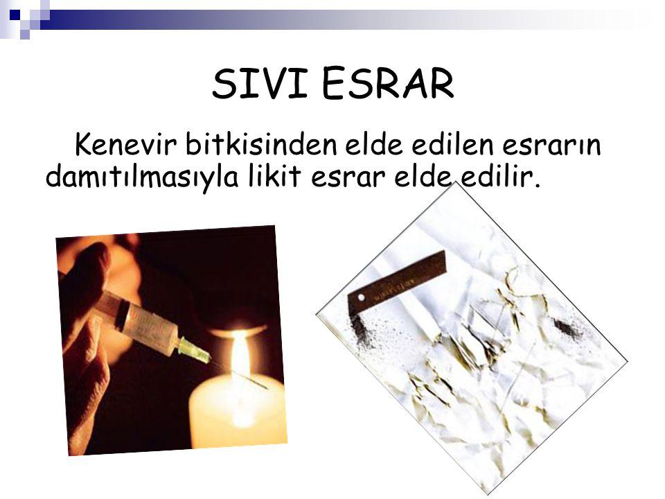 SIVI ESRAR Kenevir bitkisinden elde edilen esrarın damıtılmasıyla likit esrar elde edilir.
