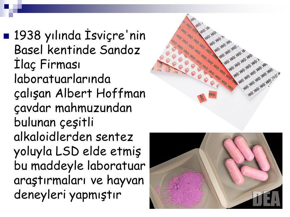 1938 yılında İsviçre nin Basel kentinde Sandoz İlaç Firması laboratuarlarında çalışan Albert Hoffman çavdar mahmuzundan bulunan çeşitli alkaloidlerden sentez yoluyla LSD elde etmiş bu maddeyle laboratuar araştırmaları ve hayvan deneyleri yapmıştır