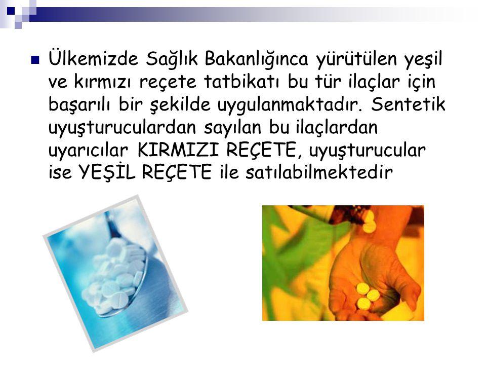 Ülkemizde Sağlık Bakanlığınca yürütülen yeşil ve kırmızı reçete tatbikatı bu tür ilaçlar için başarılı bir şekilde uygulanmaktadır.