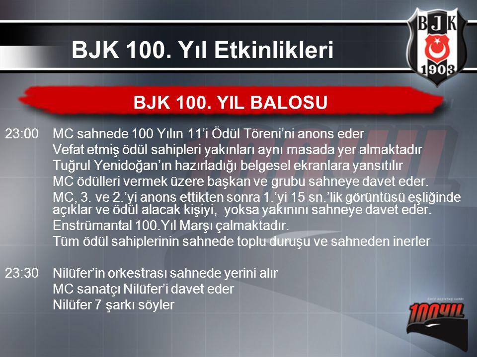 BJK 100. Yıl Etkinlikleri BJK 100. YIL BALOSU
