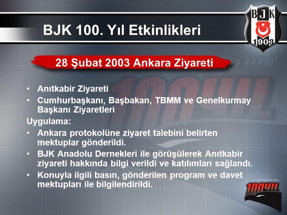 BJK 100. Yıl Etkinlikleri 28 Şubat 2003 Ankara Ziyareti