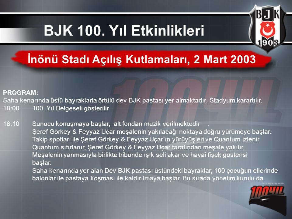 İnönü Stadı Açılış Kutlamaları, 2 Mart 2003