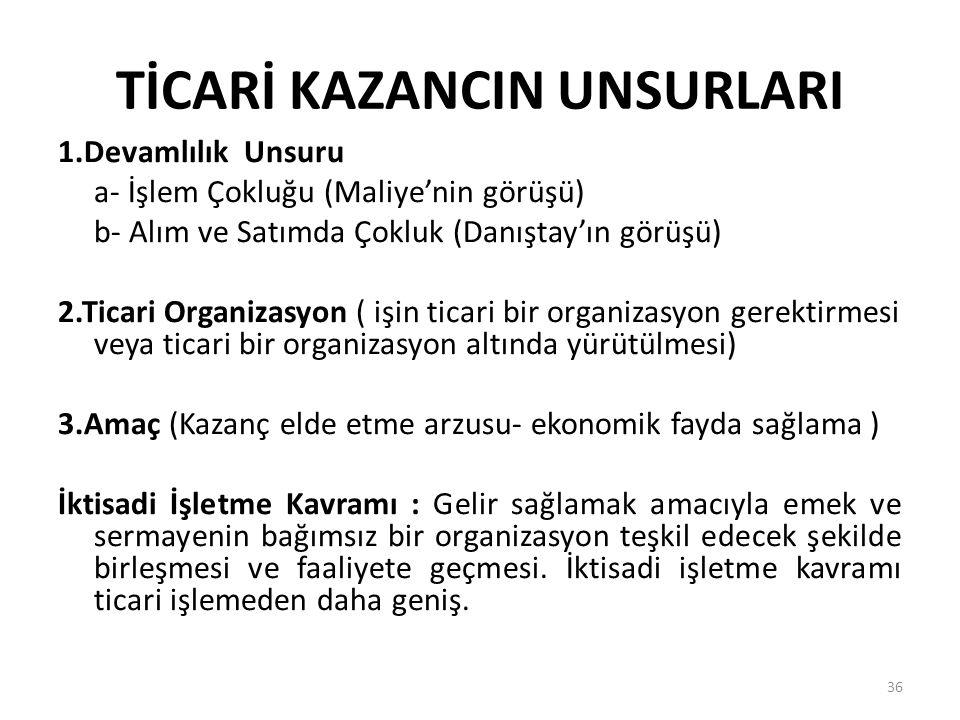 TİCARİ KAZANCIN UNSURLARI