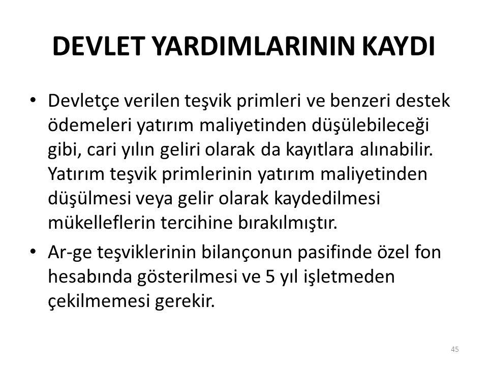 DEVLET YARDIMLARININ KAYDI