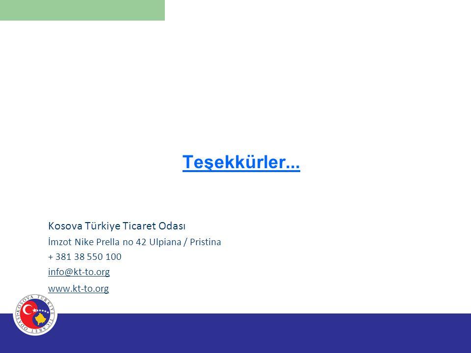 Teşekkürler... Kosova Türkiye Ticaret Odası